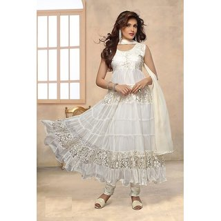 braso white net fancy women semistitched salwar kameez dupatta set