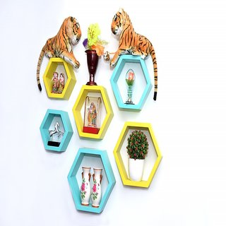 decor india craft hexagonal wall shelves set of 6 piece yellow and cyan green