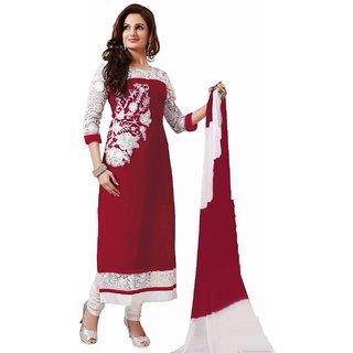 2108 Kala Beautiful Georgette Red Dress Materials (Unstitched)