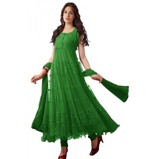 Green brasso sleevless anarkali suit with chiffon dupatta