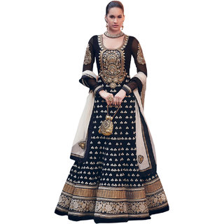 Zfashion Black Embroidered Faux Georgette Anarkali  Dress Material