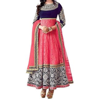 Varanga Anarkali Pink  Georgette Dress Material With Dupatta