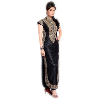 Surat Tex Black Color Party Wear Embroidered Semi-Stitched Salwar Suit. Fabric