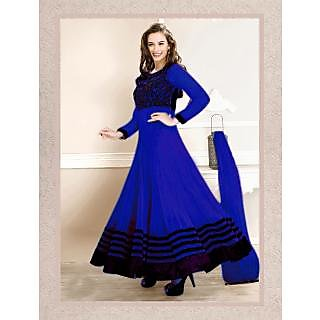 Craftliva Latest Designer Heavy Blue Embroidery Anarkali Suit