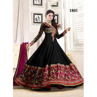 Khantil Fabulous Heavy Embroidered Black Floor Length Anarkali Suit