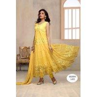 Varanga Anarkali Yellow Net Brasso Dress Material