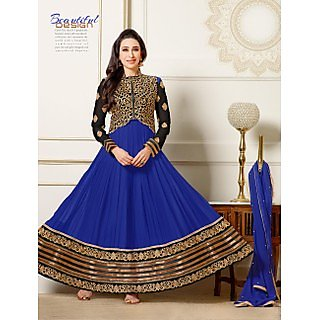 Thankar New Attractive Designer Blue Anarkali Suit With full Sleeve