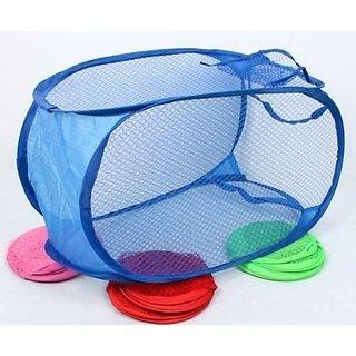 Bms Big Nylon Mesh Foldable Laundry Washing Clothes Basket Bag (Multicolor) (7S-MTMA-JE85)