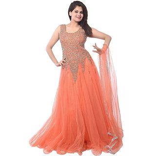 Designer dazzling orange colour party wear Suit(fs1030)
