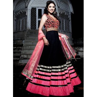 Designer Semi-Stitched Anarkali Suit Black
