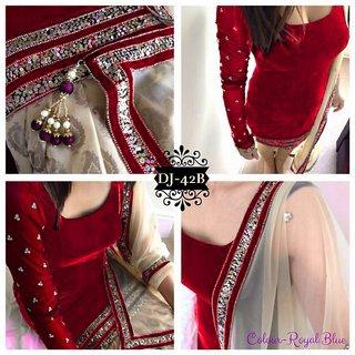 heer enterprise design Semi Stitched Royal Red Color Velvet Designer Suit