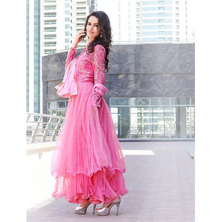 Thankar Pink Embroidered Net Anarkali Suit