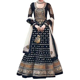 Diwali Black Anarkali Dress (Unstitched)