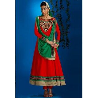 Varanga red georgette semi stitched anarkali Salwar suit KFANG1055