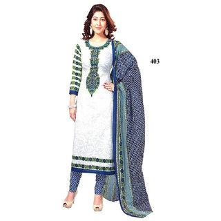 White Fashionable Designer Dress Material