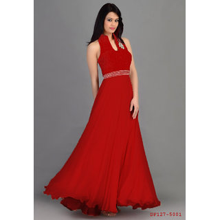 Buy Designer Red Valvet And Georgette Evening Gowns