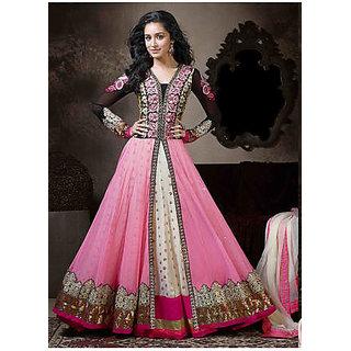 Dress Materials Pink Georgette Semi Stitched