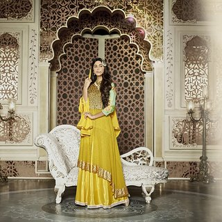 Mastani type Viva N Diva yellow colored net and georgette suit.841/14671