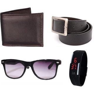 iLiv Black Wayferer Men SG, wallet, Belt, Led Band Watch Combo