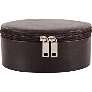 ZINT Small Genuine Leather Travel Black Jewelry Box Trinket Case Rings Pendants Organizer