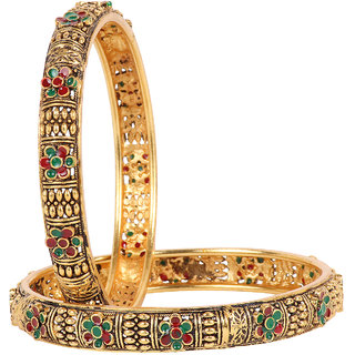 Ds Multicolour Antique Style Every Ocassion Kangan Kada Bangles for Women(Ds232)