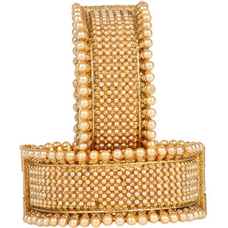 DS Gold Plated Pearl Studded Ethnic Traditional Openable Party Wear Broad Kangan Kada Bracelet Bangles Pair for Women and Girls(Ds261)
