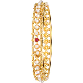 DS Gold Plated Pearl Studded Party Wear Bangles Set of Four for Women(Ds258)