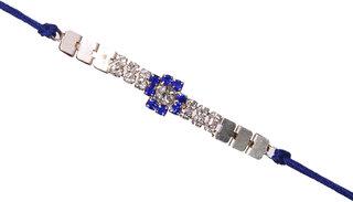 Silver Plated blue Bracelet Rakhi