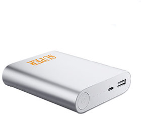 Super PB Shine Ultra Portable Battery Charger 10400 MAh Power Bank (Silver)
