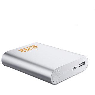 Hobins Light Weight Ultra Portable Battery Charger 10400 Mah Power Bank (Silver)