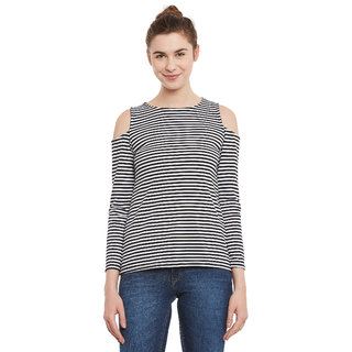 904ee545bc4b7 Buy Miss Chase Women s Multicolor Round Neck Full Sleeve Cold Shoulder  Striped Top Online - Get 63% Off