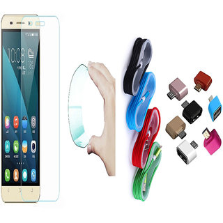 Motorola Moto E 0.3mm Curved Edge HD Flexible Tempered Glass with Nylon Micro USB Cable and Micro USB OTG Adaptor