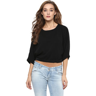 f4b75a22f5dfe Buy Miss Chase Women s Black Round Neck 3 4th Sleeves Wrap Tops Solid Plain Top  Online - Get 64% Off