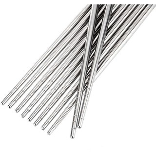 CHOPSTICK 5 Pairs Printed Thread Stainless Steel Chopstick