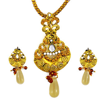 Asian Pearls & Jewels Golden Drop Pendant  Set - 5042640