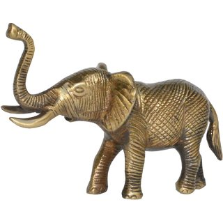 Brass Trunk up Elephant statue Fengshui Gift Item Symbol of Goof luck Decorative Shopiece in Antique finish for Home Decor