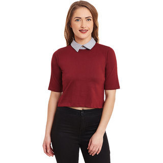 Miss Chase Women's Red Round Neck Half Sleeves Crop Tops Solid/Plain Top