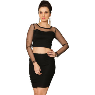 Miss Chase Women's Black Boat Neck Full Sleeves Crop Solid/Plain Top