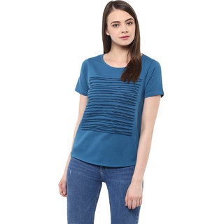 Miss Chase Women's Blue Round Neck Cold Shoulder Basic Solid/Plain Top