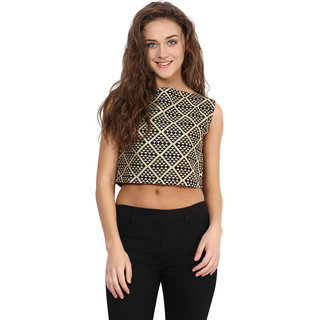 d867ab846c191 Miss Chase Women s Multicolor Boat Neck Sleeveless Crop Tops Graphic Print  Top
