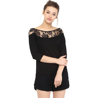 41be16bc539d7a Buy Miss Chase Women s Black Boat Neck 3 4th Sleeves Basic Plain Top ...