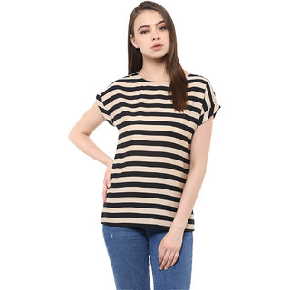 Miss Chase Women's Black Boat Neck 3/4th Sleeves Basic Striped Top