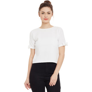804fd3f90962e3 Miss Chase Women s White Boat Neck Half Sleeves Crop Tops Solid Plain Top