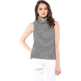 915891376fa52 Buy Miss Chase Women s Black Cowl Neck Sleeveless Basic Striped Top ...