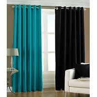 ILiv Plain Eyelet Curtain 7Ft ( Set Of 2 )- 1Aqua1Black