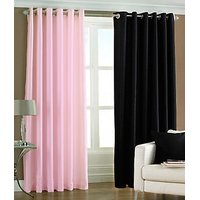 ILiv Plain Eyelet Curtain 7Ft ( Set Of 2 )- Baby Pink & Black