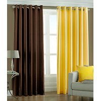ILiv Plain Eyelet Curtain 7Ft ( Set Of 2 )- Brown & Yellow
