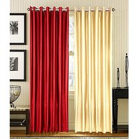 ILiv Plain Eyelet Curtain 7Ft ( Set Of 2 )- Mahroon & Cream