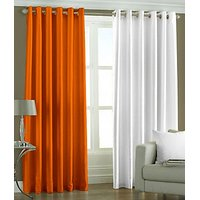 ILiv Plain Eyelet Curtain 7Ft ( Set Of 2 )- Orange & White