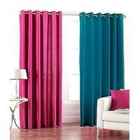 ILiv Plain Eyelet Curtain 9Ft ( Set Of 2 )- Pink & Aqua
